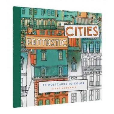 Fantastic Cities Postcard Set :20 Postcards to Color