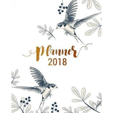 Planner 2018, Academic Year Calendar with Weekly Planners Daily To-Do Lists and Notes, Passion/Goal Setting Organizer, Large Letter Size 8x10  Classic Vintage Bird in Flower Garden Drawing Black White Gold Glitter :Professional Long-Term Planner for Pass
