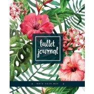 Bullet Journal Dot Grid for 90 Days, Numbered Pages Quarterly Journal Diary, Colorful Tropical Summer Plant Garden :Large Bullet Journal 8x10 with 150 Dot Grid Pages with Number